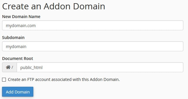 cPanel Addon Domain form